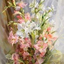 Flowers Grace 14CT White Canvas DMC Oil Painting Cross Stitch