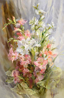 Flowers Grace 14CT White Canvas DMC Oil Painting Cross Stitch Kits Art Crafts Embroidery DIY Handmade Needle Work Home Decor