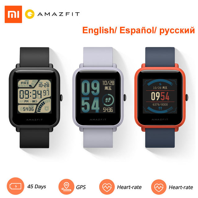 Amazfit bip Xiaomi Smart Watch Global Version English/ Spanish/ Russian GPS Smartwatch Android iOS Heart Rate Monitor