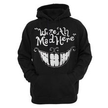 Women's Bright Smile Hoodies Autumn Black We Are All Mad Here Letter Pullovers