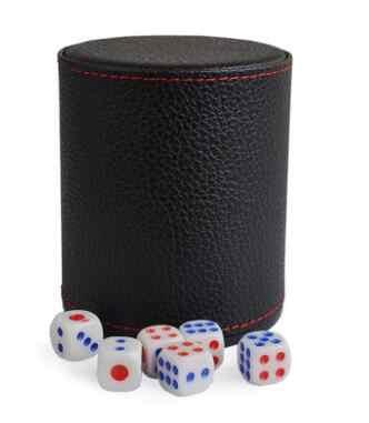 KTV Bar, jeu de Poker Texas, en cuir et plastique, jeu de dés, jeu numérique blanc/acrylique, sans couvercle, 6 pièces