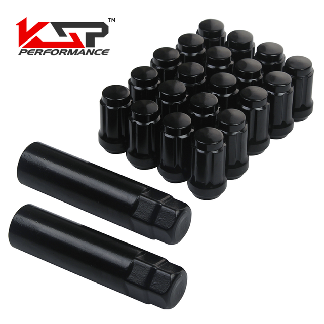 "KSP 20pc Premium Black Spline Drive Extended Lug Nuts M12x1.5|1.38"" Tall with 2 Security Keys for Honda Acura JDM and More After"