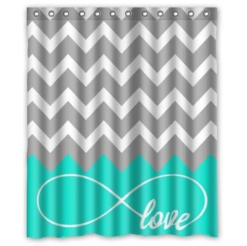 shower curtain love infinity forever love symbol chevron pattern