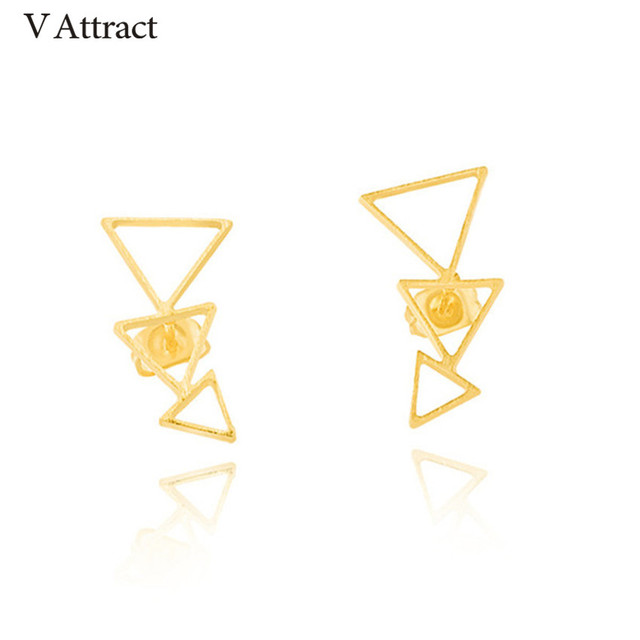 96cb3a48ba23 V Attract Stainless Steel Unique Triangle Stud Earring Women Luck Jewelry  Bohemia Style Geometric Arrow Pendientes Mujer