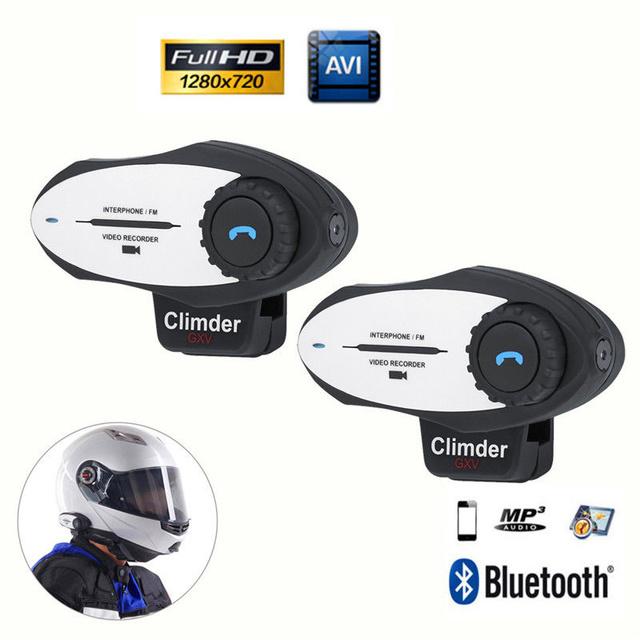 El envío gratuito! 2 unids Intercom Headset Interphone Bluetooth Motocicleta intercomunicador del Casco de cámara de vídeo HD 720 P de Grabación