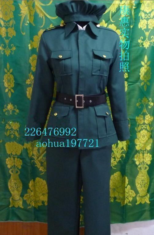 Здесь продается  Axis Powers Hetalia Hungary Elizaveta Hedervary Cosplay Costume Anime Custom Made Green Army Uniform  Одежда и аксессуары