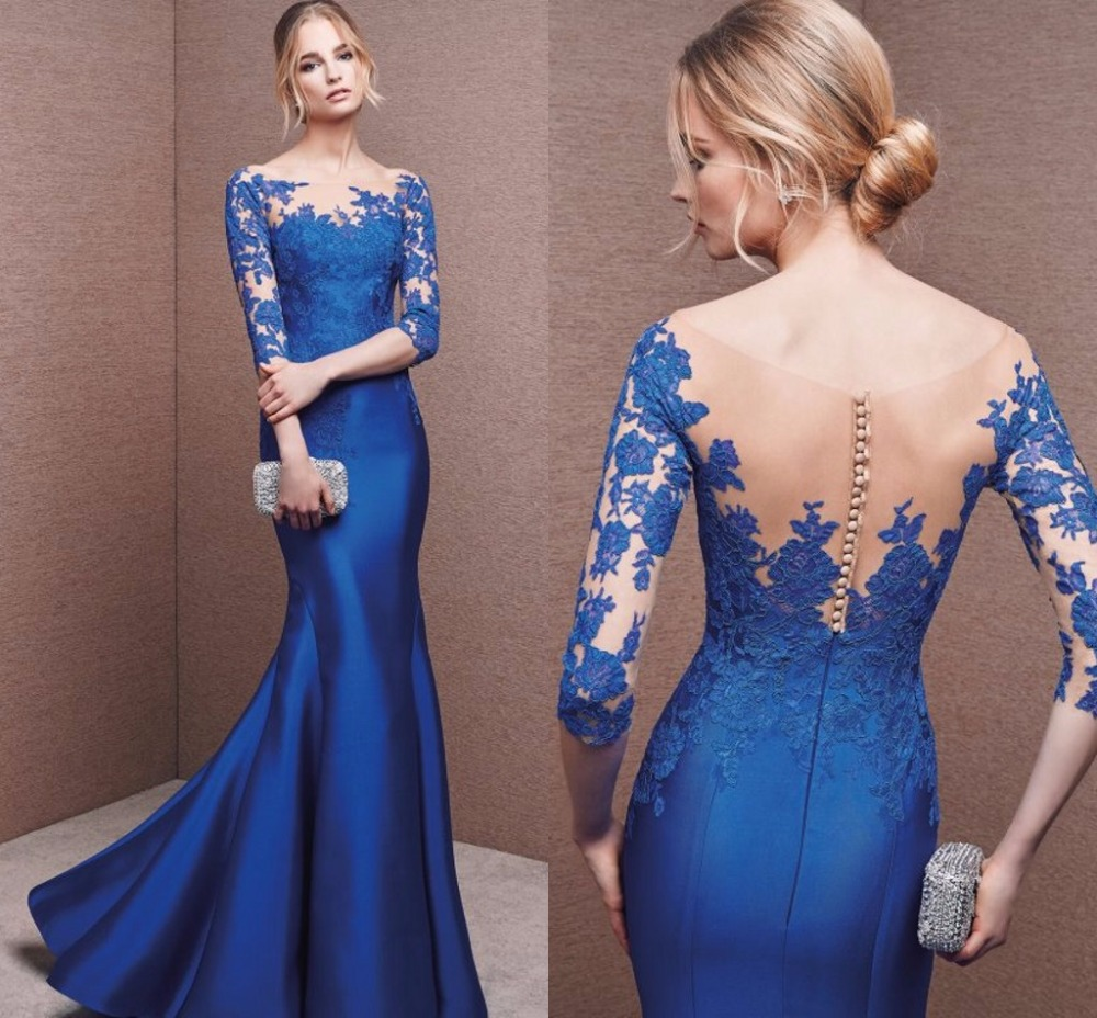 Royal Blue Satin Mermaid   Evening     Dresses   2019 Sheer Neck Lace Court Train See Through Elegant Party Formal Gowns Saudi Arabian