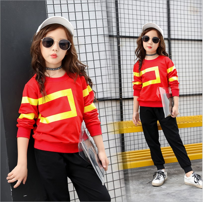2018 Spring Autumn Girls Clothing Sets Two-Piece Cotton Teenage Girl Tracksuits Costume Black Long Sleeve School Girl Outfit 10Y джинсы y two y two yt002emxxr00