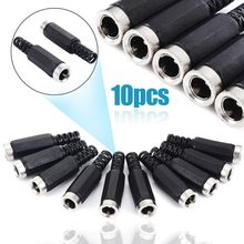10pcs/lot Male / Female DC Power Jack Plugs 2.1mm x 5.5mm Black Socket Adapter Connector(China)