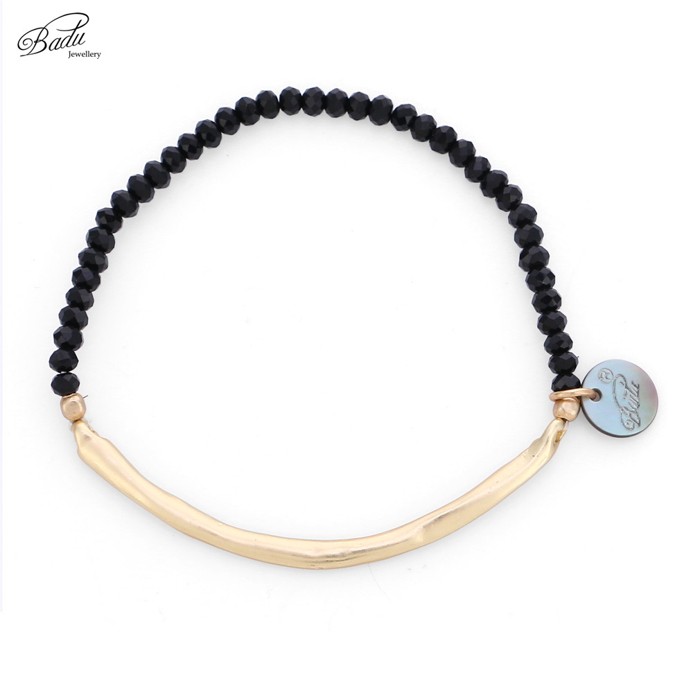 Badu Black Crystal Beaded Bracelet for Women Golden Copper Tube Elastic Adjustable Bracelets Fashion Jewelry Wholesale