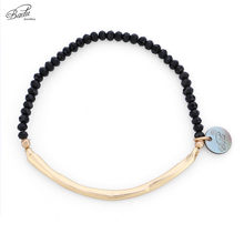 Badu Black Crystal Beaded Bracelet for Women Golden Copper Tube Elastic Adjustable Bracelets Fashion Jewelry Wholesale(China)