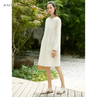 AMII REDEFINE Dress Summer Women 2018 Office lady Cotton Solid O neck Loose Draped Long Sleeve Female Knee Length Dresses