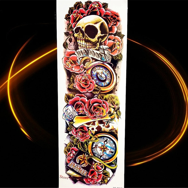 25style 4617cm Old School Skull Rose Flower Arm Temporary Tattoo