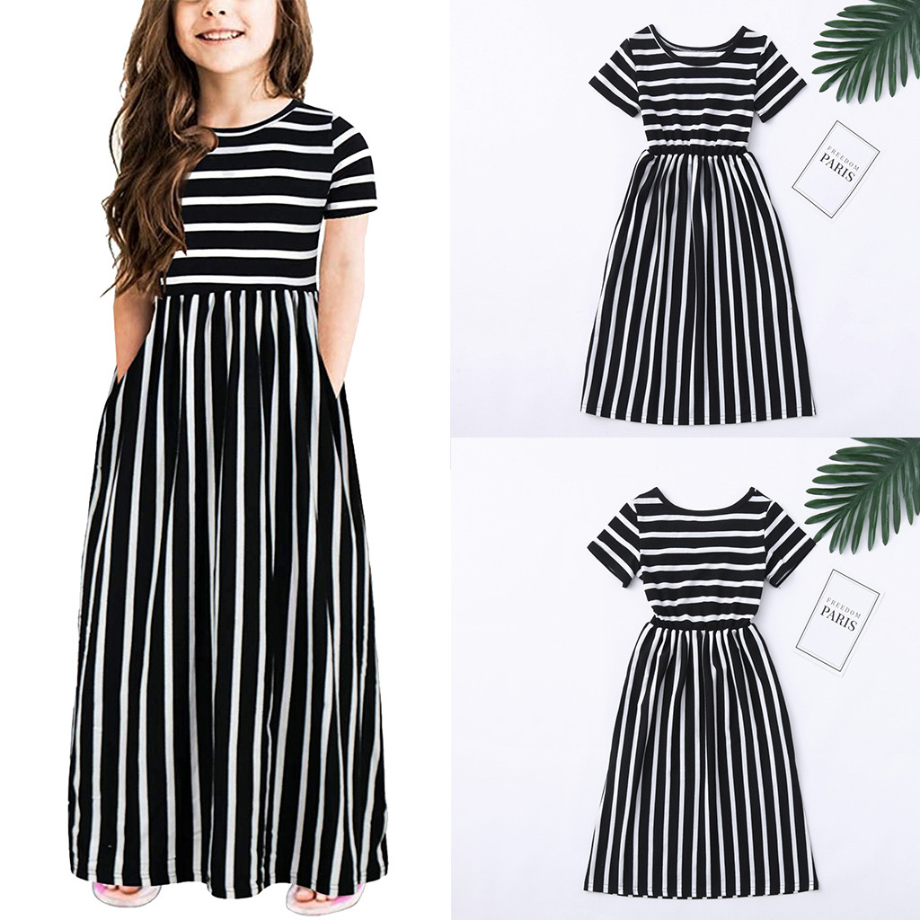 Infant Baby Girl Clothes Summer Dress 2019 Clothes Toddler Girls Short Sleeve Striped Print Girls Dresses For Party And Wedding