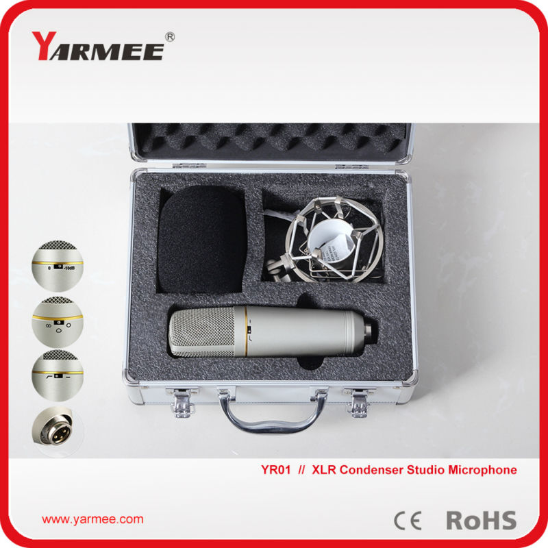 YARMEE YR01 Professional Handheld XLR Studio Condenser Recording Microphone with 3 Direction for Singing,Recording,Broadcasting best quality yarmee multi functional condenser studio recording microphone xlr mic yr01