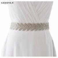 GERINLY Mulheres Cintos Cummerbunds Marca de Luxo Artesanal Strass Frisado Faixa De Noiva Cinto Vestido de Noiva Do Casamento Com Fita