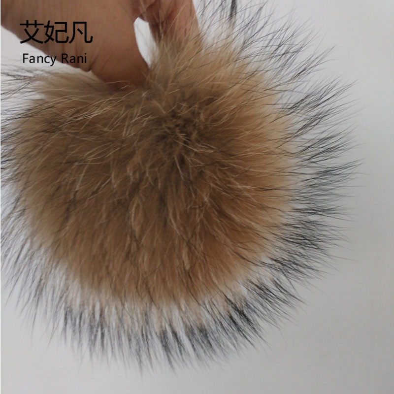 15cm Big 100% Real Raccoon Fur Pom Poms Ball Fur for Women Winter Hats Caps Natural Raccoon Fur Ball for Key Chain Accessories new star spring cotton baby hat for 6 months 2 years with fluffy raccoon fox fur pom poms touca kids caps for boys and girls