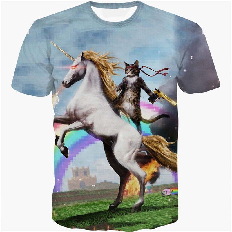 Newest Unicorn 3D font b T shirt b font Rainbow Unicorn Cat Battles 3d T Shirt