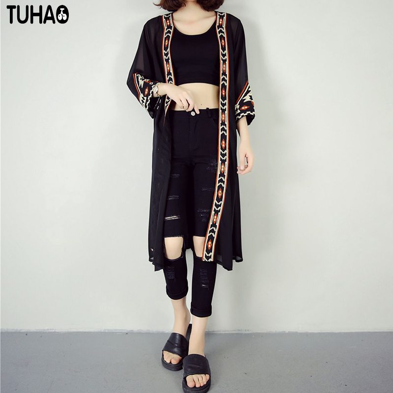 TUHAO Leisure Folk Ethnic Blouse Female Patchwork Emboidery Outwear Cardigan Pri