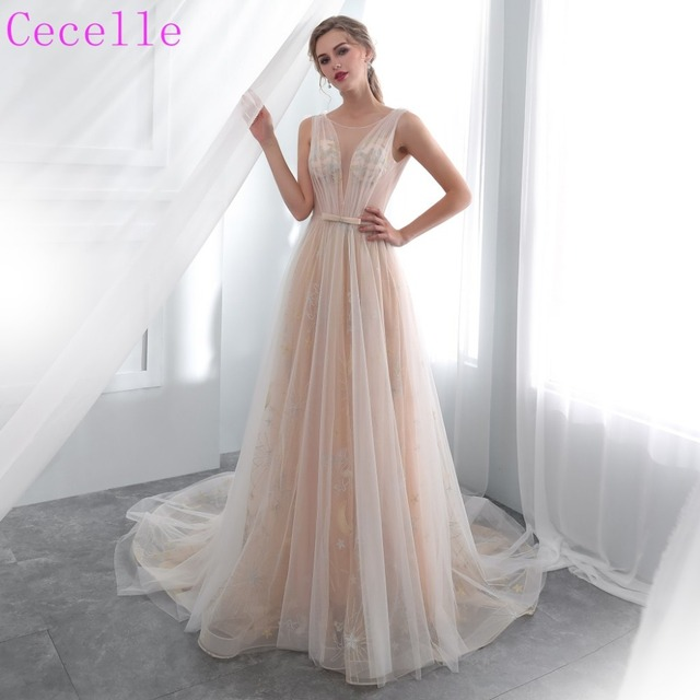 a4bcc73d31 2019 New Champagne Lace Tulle Bohemian Wedding Dress Low Back Sexy Informal Bridal  Gowns Boho Style