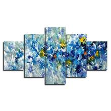 Abstract Blue Yellow and White Flowers Wall Art Canvas Prints