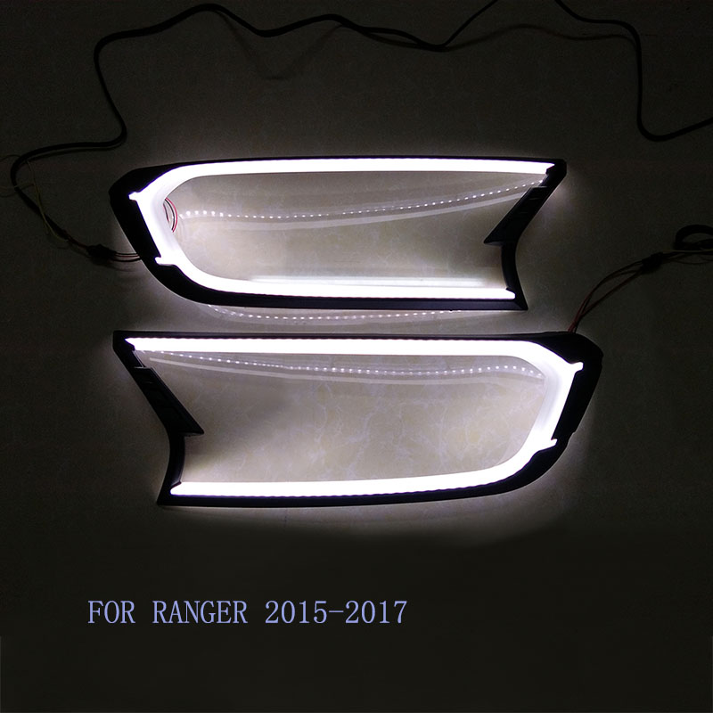 Free shipping 2pcs Matte Black LED Head Light Front Shell Cover Trim For FORD RANGER T6 T7 XLT WILDTRAK 15-17 ABS Lamp Hoods fit for ford ranger t7 2015 2017 handle bowl fog lamp headlight tailigt cover trim abs black detector car styling accessories