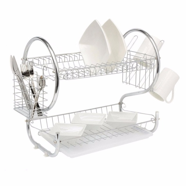 2 Tier Home Kitchen Organizer Chrome Plate Dish Cup Cutlery Drainer Rack Drip Tray Plates Storage  sc 1 st  AliExpress.com & 2 Tier Home Kitchen Organizer Chrome Plate Dish Cup Cutlery ...
