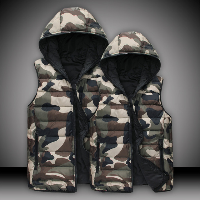 2016 Spring / Autumn Mens & women fashion waistcoat  camouflage cotton hooded vests Men Down sleeveless jacket vest TVE007