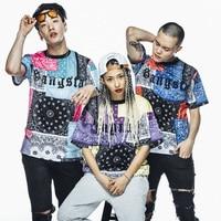 Men Long T Shirt Fashion New 2017 Short Sleeve Hip Hop Rock Skate Paisley Print T