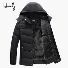 HMILY Winter Thick Jacket Men Warm Parkas Cotton Fleece Coats Middle-aged Mens Dad Windproof