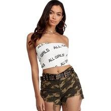 c306966b11 Lanshifei Sexy Strapless Letter Print Crop Top Women 2018 Summer Cotton  White Slim