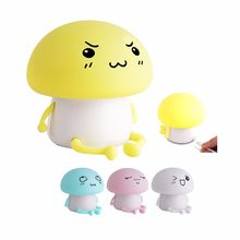Led Night Light Bulb Lamp USB Rechargeable Baby Nightlight Desk Lamp Silicone Yellow Pink Blue White Feeding Children Cute JQ(China)