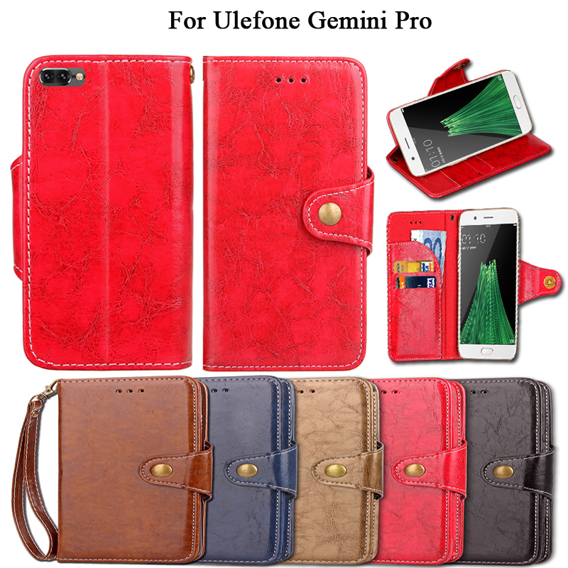 Flip Case For Ulefone Gemini Pro Vintage with kickstand PU Leather Luxury Wallet Fundas Cover with Lanyard