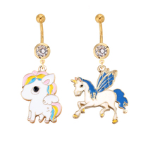 1pc Gold Sexy Dangle Bars Belly Button Rings Belly Piercing Cute Unicorn Body Jewelry Navel Piercing Rings Dangle Belly Rings