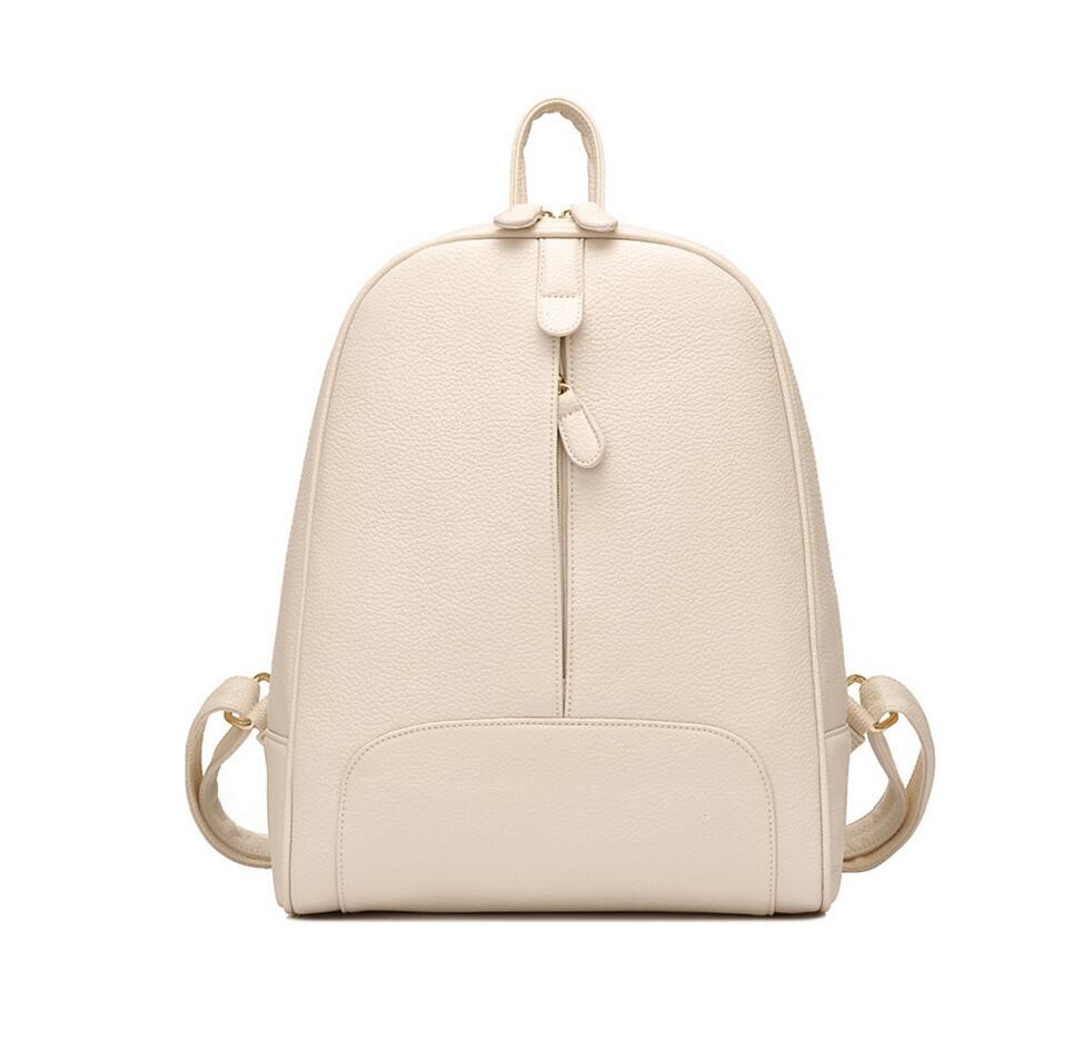 women PU leather backpack small beige bag cheap backpacks for teenage girls school bags female travel backpack black back pack