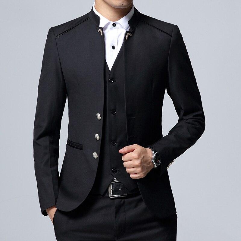 Одежда высшего качества Для мужчин блейзеры китайский туника костюм Slim Fit Мужской смокинги свадебные Бизнес выпускного вечера вечерние син