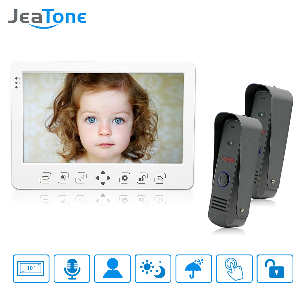 JeaTone 10 High Resolution Color Video Doorphone Intercom Systems 1200TVL IR Night Vision Outdoor Doorbell Camera White Monitor jeatone 10 hd wired video doorphone intercom kit 3 silver monitor doorbell with 2 ir night vision 2 8mm lens outdoor cameras