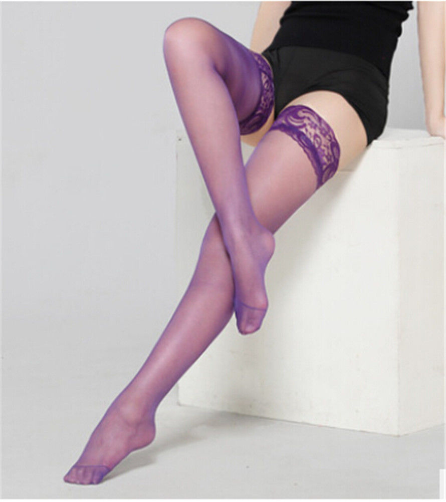 389cc688eb12c Sexy Lace Women Plus Size STAY UP STOCKINGS Sheer Thigh High LACE TOP  Silicone 165 275 lbs QUEEN-in Stockings from Underwear & Sleepwears on  Aliexpress.com ...