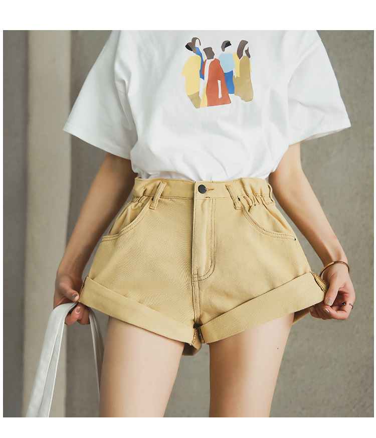 HTB1YnkXPmzqK1RjSZPcq6zTepXao - Streamgirl Denim Shorts Women's White Women Short Jeans Khaki Wide Leg Elastic Waist Vintage High Waist Shorts Women Summer
