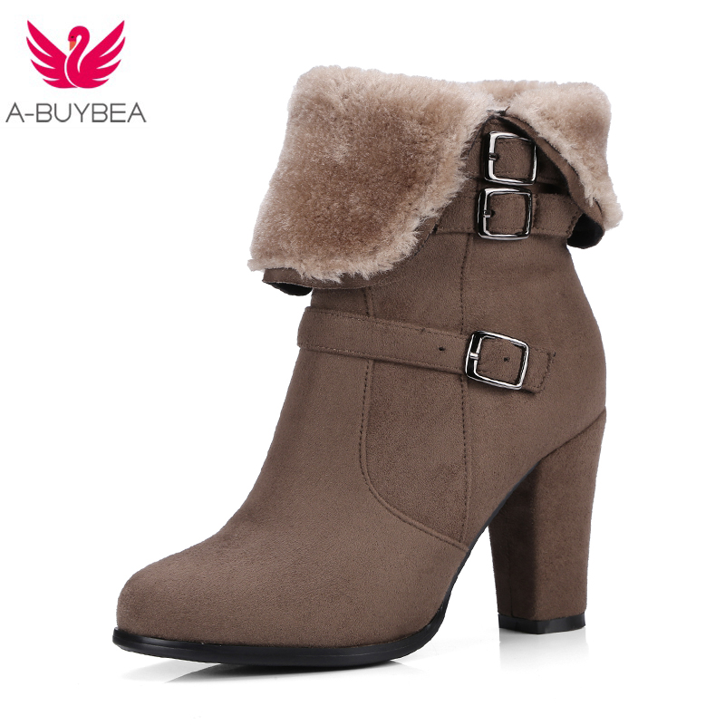 2017 Winter New Thick Plush Snow Ankle Boots Women Keep Warm Winter Boots Buckle Strap Side Zipper Thick High Heels Shoes Woman new winter children snow boots boys girls boots warm plush lining kids winter shoes