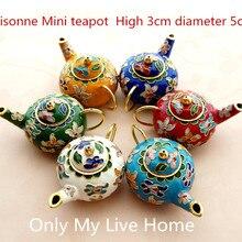 Милая китайская перегородчатая эмаль мини чайник украшения ручной работы плода медные филигранные эмали домашний декор горшок ремесла подарок