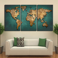 HD Printed 3 Piece Canvas Art World Map Canvas Painting Vintage Continent Wall Pictures For Living