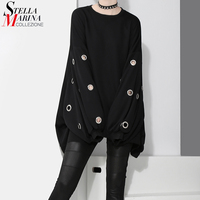 New 2017 Korean Style Winter Long Black Grey Women Pullover Sweatshirt With Metal Holes Plus Size
