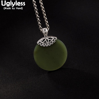 Uglyless 100% Real 925 Sterling Silver Natural Green Jade Round Pendants for Women Gemstones Fine Jewelry Thai Silver Necklaces