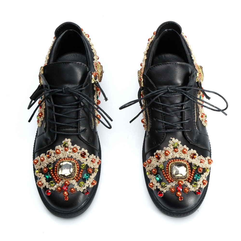 Luxury Gold String Embroidery Men Formal Party Shoes Colorful Gemstones Men Leather Derby Shoes