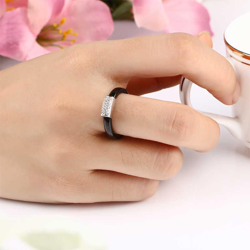 สี่เหลี่ยมผืนผ้า AAA Zircon แหวนเซรามิคสำหรับผู้หญิง Silver PARTY เซรามิคแหวนเครื่องประดับหญิง 3 มม.บางซ้อนแหวนหางเครื่องประดับ