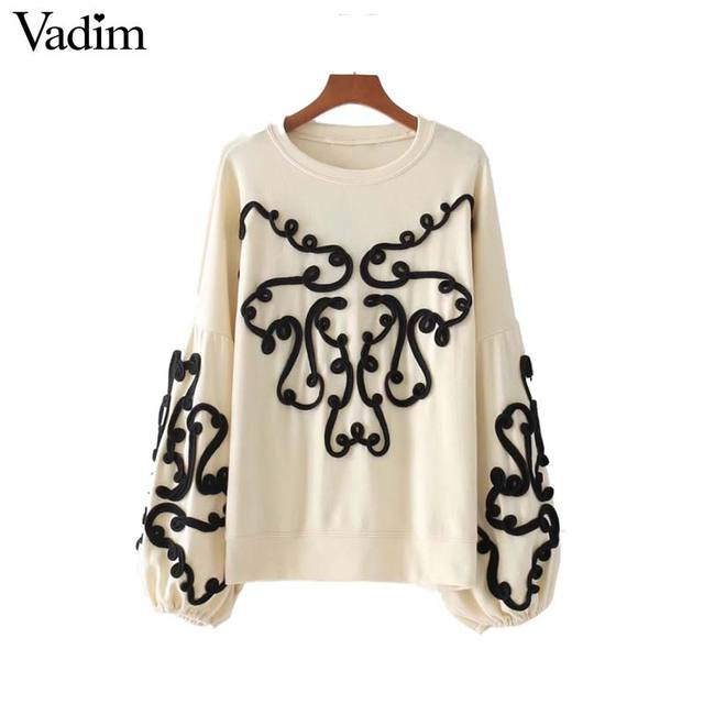 Vadim women string decorate sweatshirt long lantern sleeve oversized pullover lady loose chic tops casual wear sudaderas SW1260
