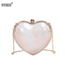 NYHED Women Transparent Handbags New Gift For Wife Heart Box Clutch Chains Makeup Pouch