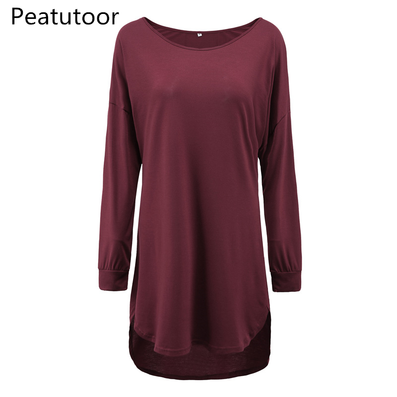 2018 Casual Female T-shirt Plus Size Summer Autumn Full Sleeve Solid Loose Pullovers Long Curved Hem Tshirt Tops Women Big Size