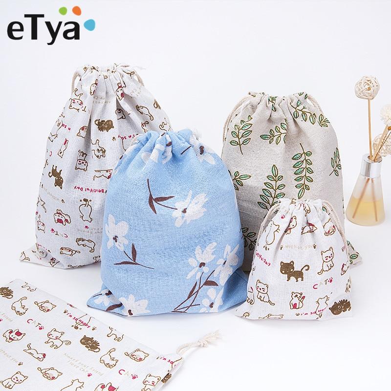 все цены на eTya Fashion Fresh Women Shopping Bag With Drawstring Cotton Travel Underwear Shoe Storage Organizer Bag Pouch